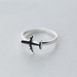 Aeroplane 925 Sterling Silver Adjustable Ring