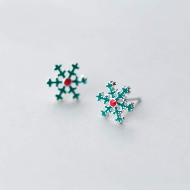 Green Snowflake 925 Sterling Silver Stud Earrings