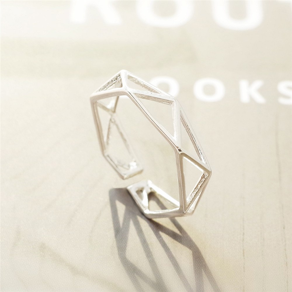 Dainty Cross 925 Silver Adjustable Ring 1
